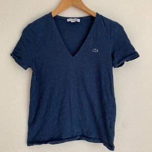 Lacoste V neck short sleeve navy tee